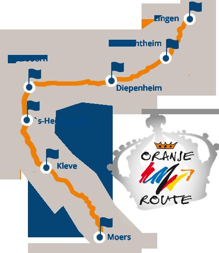 Ansicht einer Karte mit den Städten der Oranier-Fahrradroutewie zum Beisiel Lingen, Diepenheim, Apeldoorn und Moers