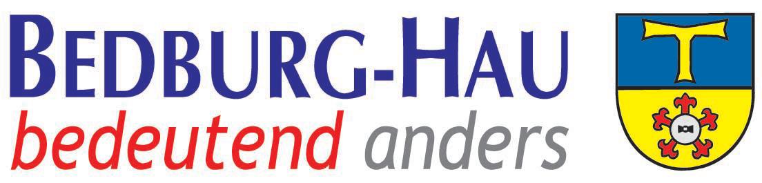 Logo der Gemeinde Bedburg-Hau auf der Oranier-Fahrradroute von Lingen über Apeldoorn nach Moers